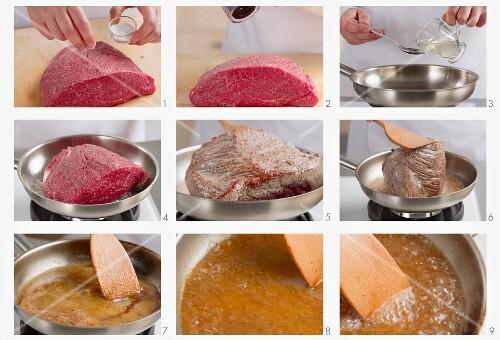 Preparing roast beef
