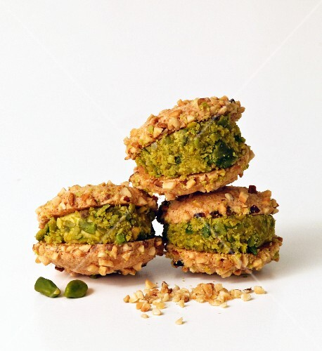 Three nut biscuits with a creamy pistachio nut filling