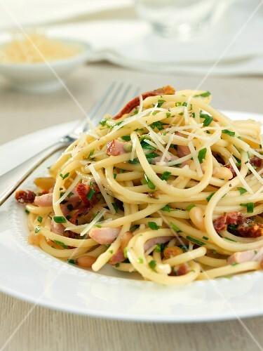 Single Serving of Spaghetti Carbonara on a White Plate