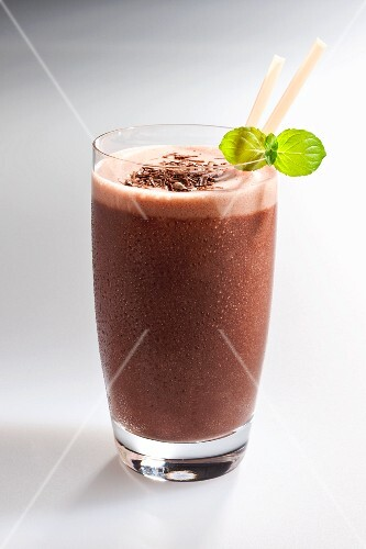 A chocolate milkshake in a glass