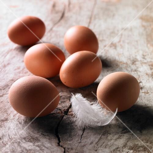 Six brown hen's eggs