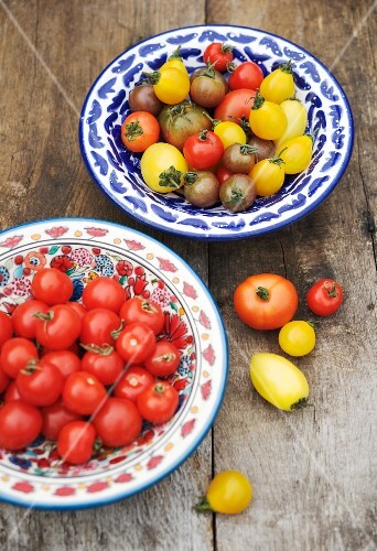 Cherry tomatoes and heirloom tomatoes