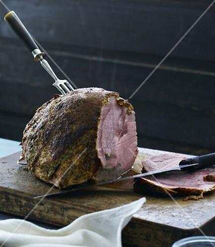 Roast ham, partly carved