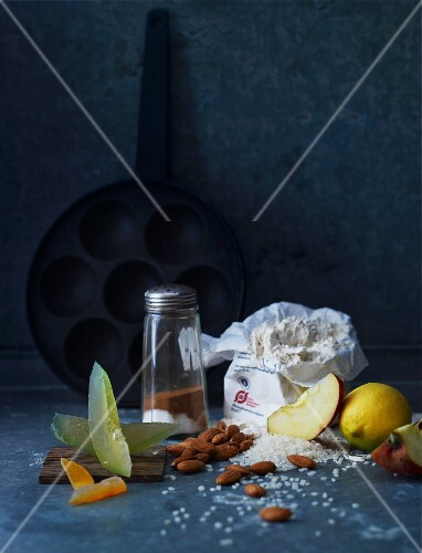 Still life with various baking ingredients