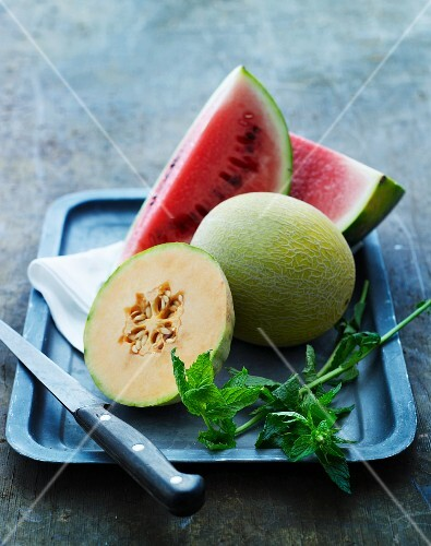 Various types of melon on a tray
