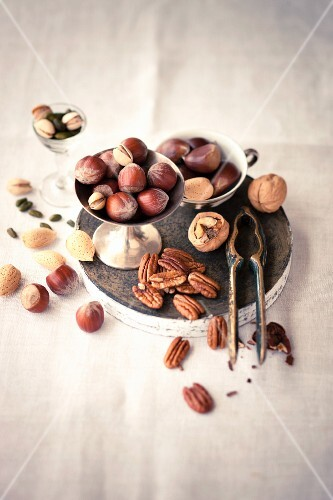 Various nuts and a nutcracker