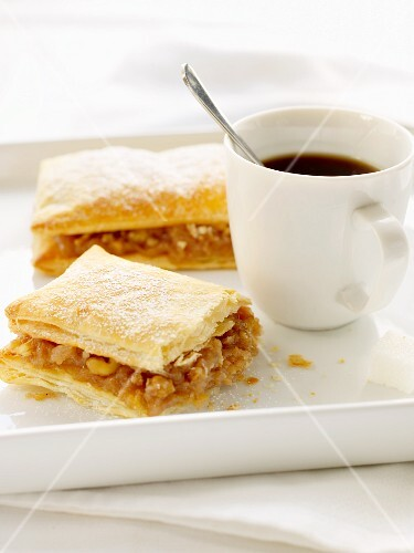 Chickpea slices and coffee