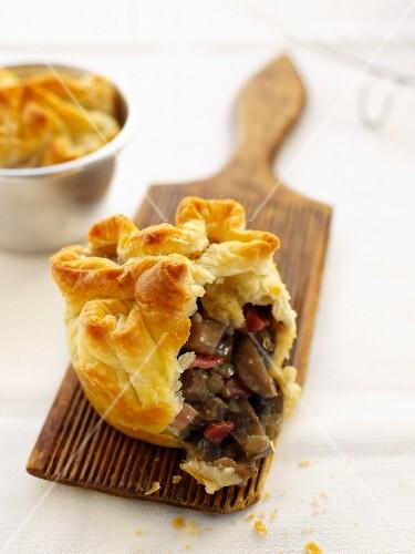 Puff pastry mushroom pies