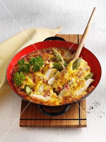 Asparagus omelette with diced bacon