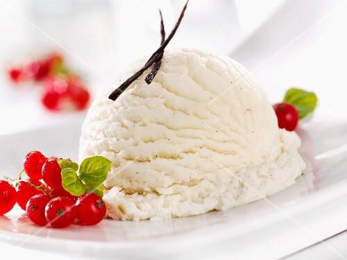 A scoop of vanilla ice cream with fresh redcurrants