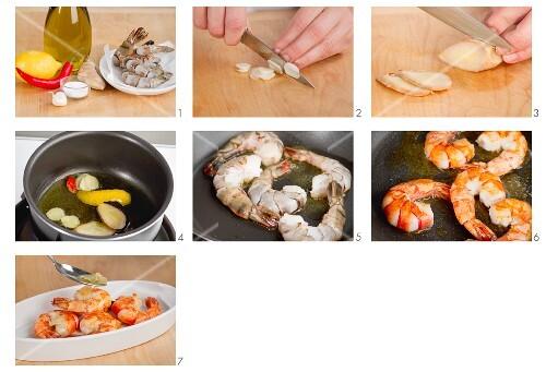 Garnelen mit Knoblauch und Zitrone zubereiten