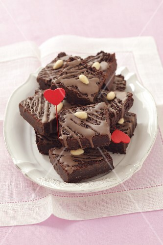 Brownies with almonds and heart decorations