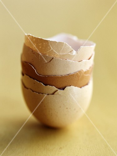 A stack of empty egg shells