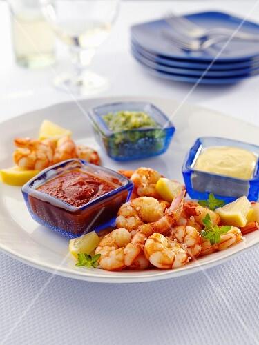 Sauteed Shrimp with Cocktail Sauce, Dijon Mustard and Pesto Dipping Sauce
