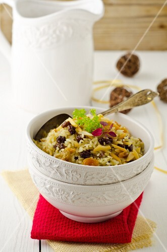 Raisin rice with slivered almonds for Christmas