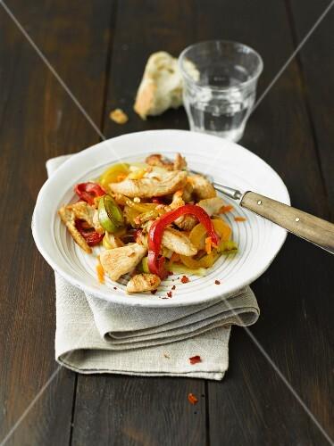 Chicken with stir-fried vegetables