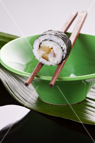 Maki sushi with herring and gherkins