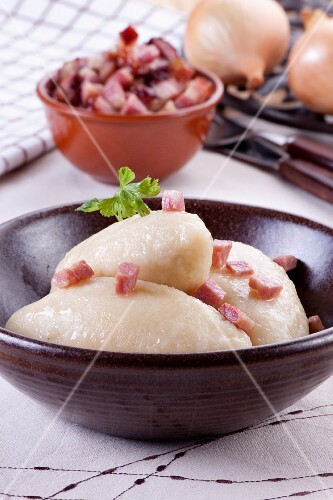 Cepelinai (Lithuanian potato dumplings filled with meat)