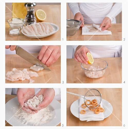 Frittierte Tintenfischringe zubereiten