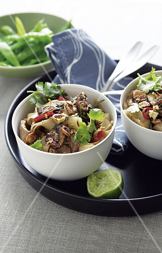Thai-style stir fried pork and noodles