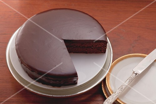 Sachertorte (chocolate cake), a piece removed