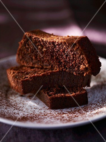 Three slices of chocolate loaf cake