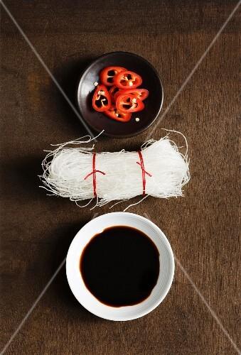 An arrangement with rice noodles