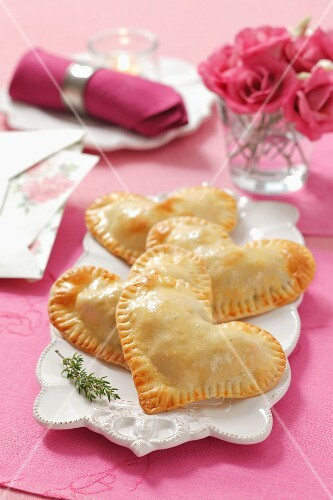 Heart shaped priogis with lentil filling