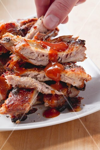 Grilled spare ribs with BBQ sauce