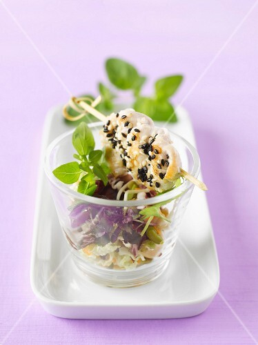 Chicken kebabs with sesame on a bed of salad