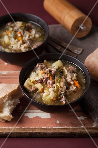 Oxtail soup with pearl barley
