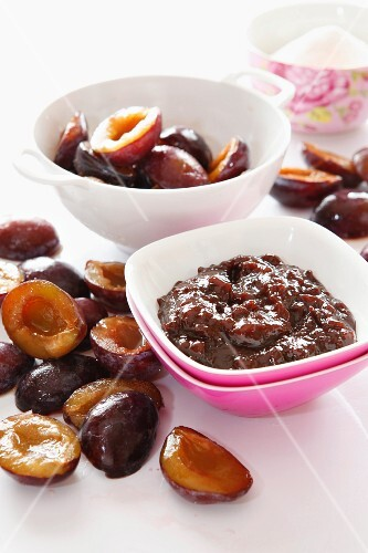 A bowl of stewed plums