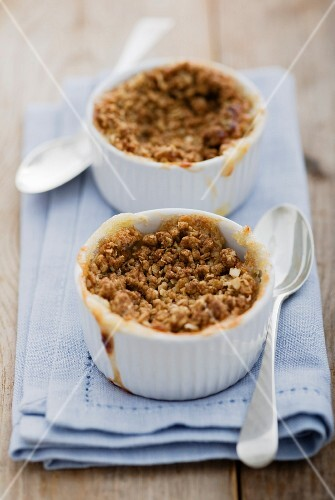 Two apple crumbles