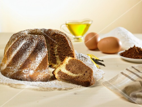 A marble Bundt cake and ingredients
