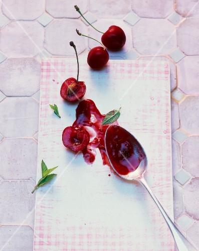 Cherry and rose hip jam