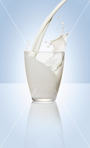 Pouring milk into a glass