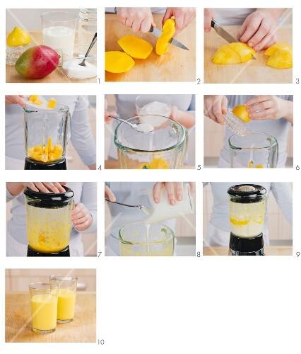 Mango lassi being made