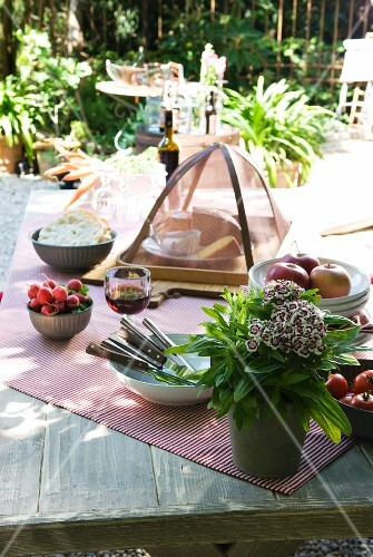 Rustic lunch of cheese, bread, radishes and apples on garden table