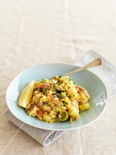 Risotto with smoked fish and leek
