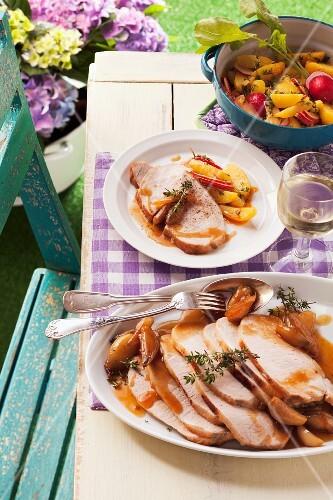 Roast pork with thyme and a shallot sauce