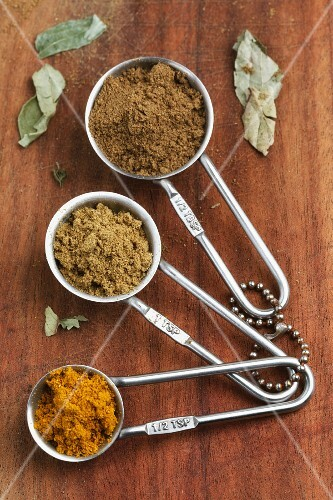 Various types of curry powder in measuring spoons