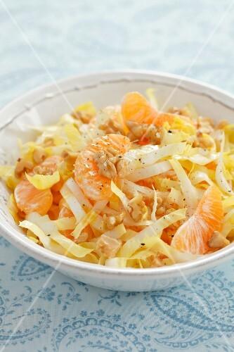 Chicory salad with walnuts and mandarins