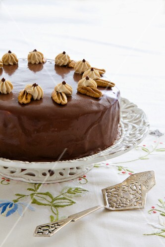 A nut cake with a coffee cream filling
