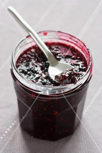 A jar of blackberry and raspberry jam