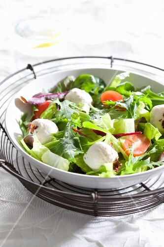 A mixed leaf salad with labneh cream cheese