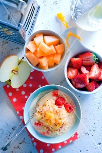 A healthy breakfast of muesli and fresh fruit