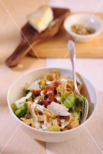 Tagliatelle with Brussels sprouts, bacon and Parmesan