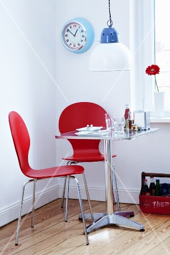 Table set for two (American diner style at home)