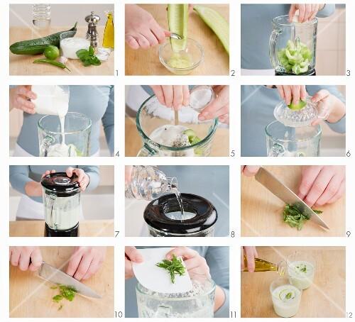 Kalte Gurkensuppe zubereiten