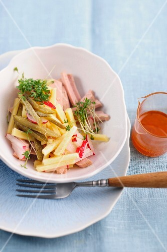 Meat salad with cheese, radishes and cress